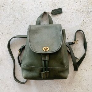 🌿 VINTAGE COACH Turnlock Leather Backpack Green